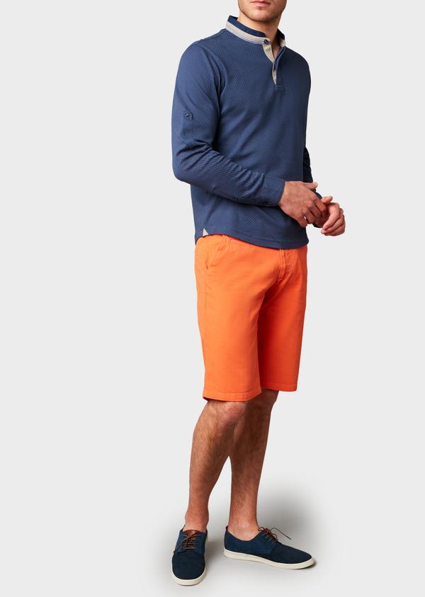 Polo manches longues Slim en coton texturé bleu indigo - Father and Sons 6994