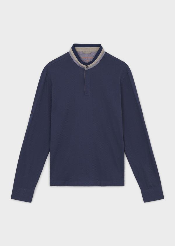 Polo manches longues Slim en coton texturé bleu indigo - Father and Sons 6992