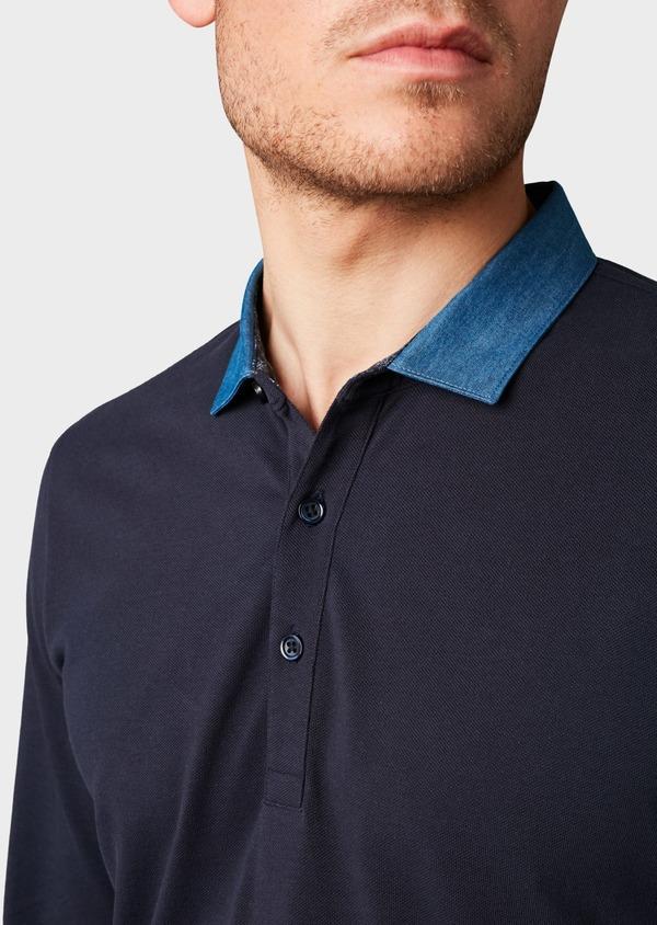 Polo manches longues Slim en coton uni bleu marine - Father and Sons 6979