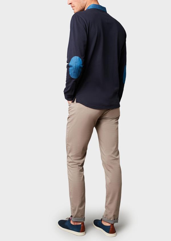 Polo manches longues Slim en coton uni bleu marine - Father and Sons 6978