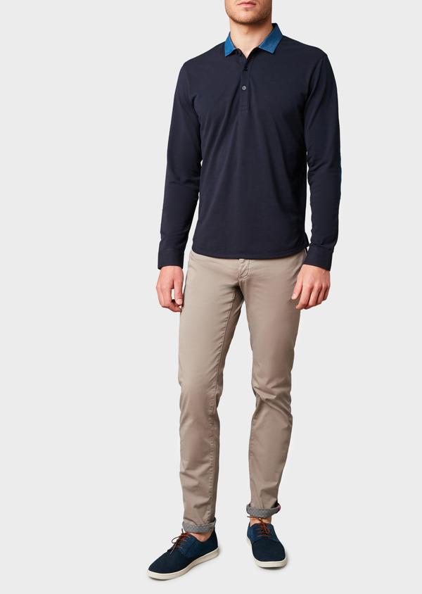 Polo manches longues Slim en coton uni bleu marine - Father and Sons 6977