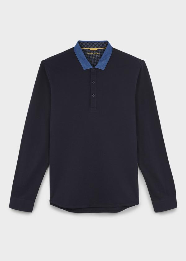 Polo manches longues Slim en coton uni bleu marine - Father and Sons 6975