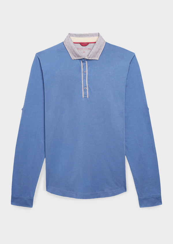 Polo manches longues Slim en coton uni bleu - Father and Sons 8195