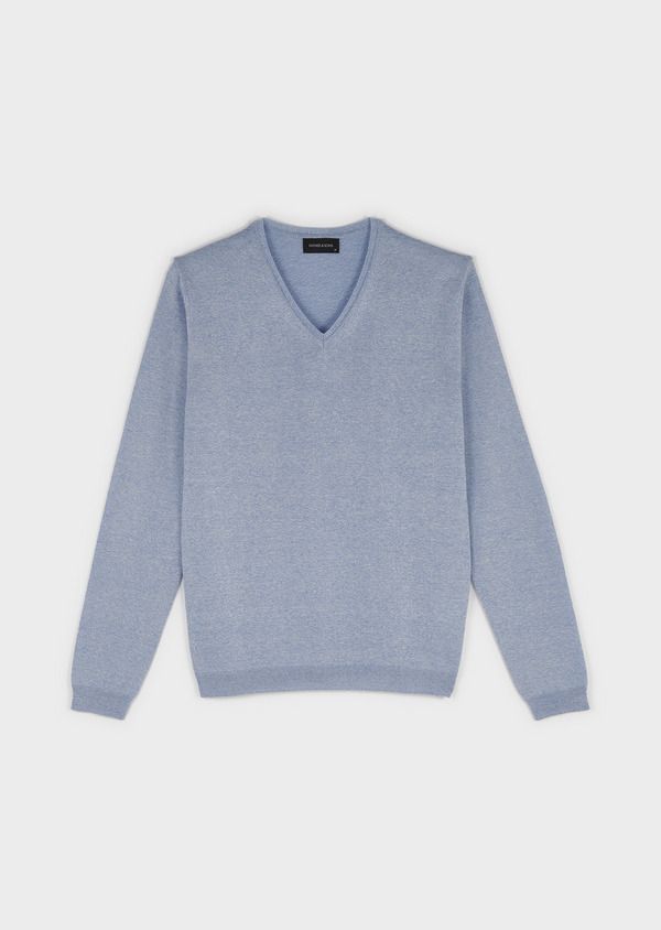 Pull en coton col V bleu ciel chiné - Father and Sons 8207