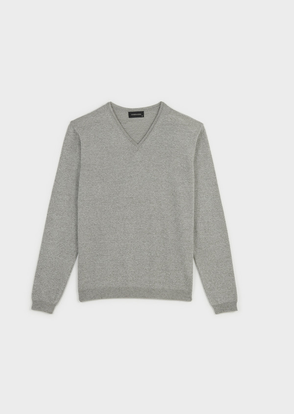 Pull en coton col V gris chiné - Father and Sons 7056