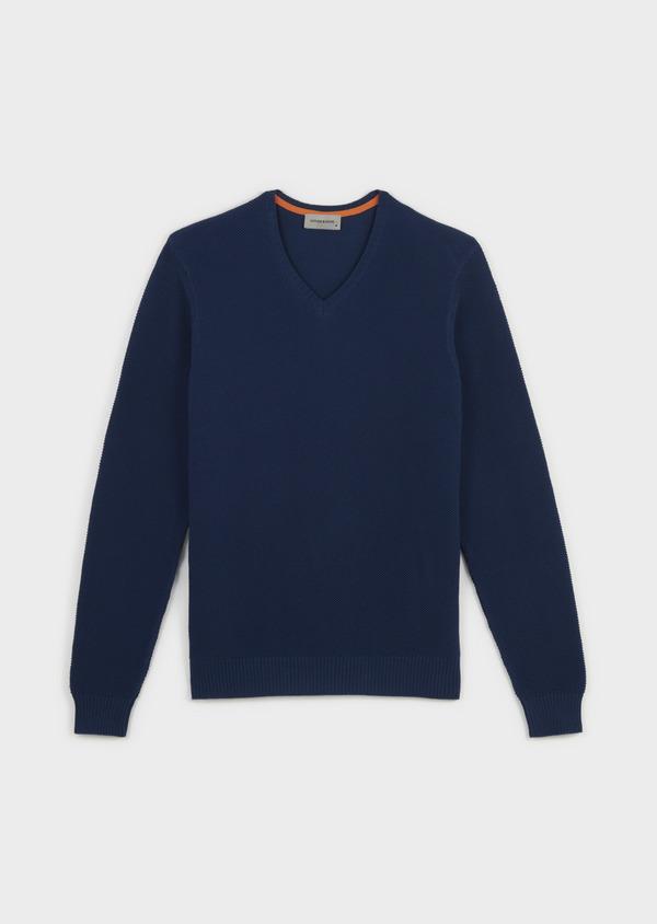 Pull en coton col V texturé bleu indigo - Father and Sons 8199