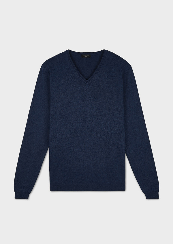 Pull en coton col V bleu chiné - Father and Sons 7062