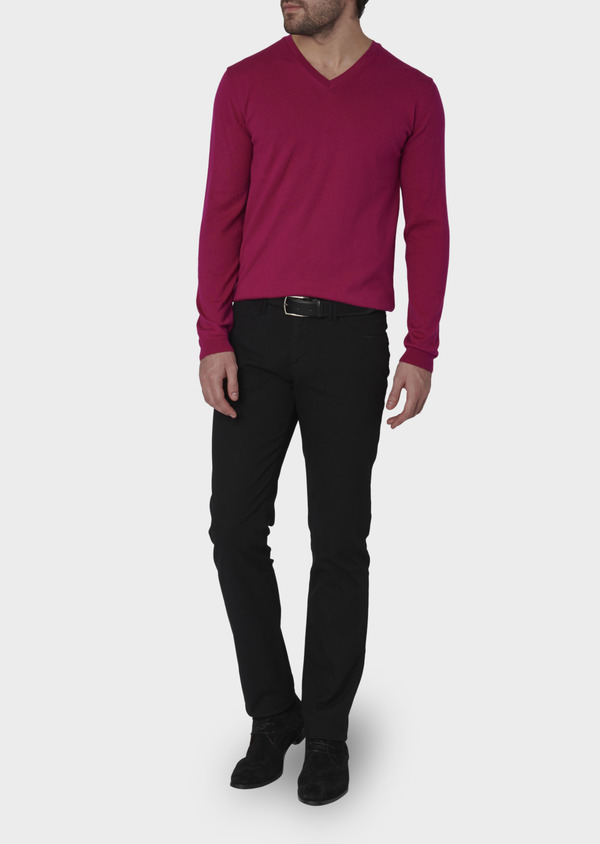 Pull en coton col V uni rose - Father and Sons 7052