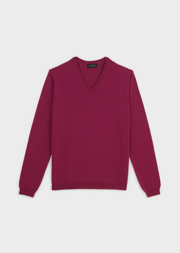Pull en coton col V uni rose - Father and Sons 7050