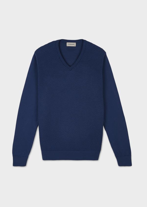 Pull en coton col rond bleu foncé - Father and Sons 7032
