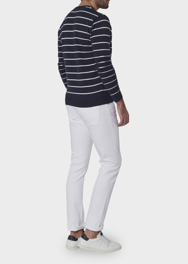 Pull en coton col rond marinière bleu marine - Father and Sons 7011