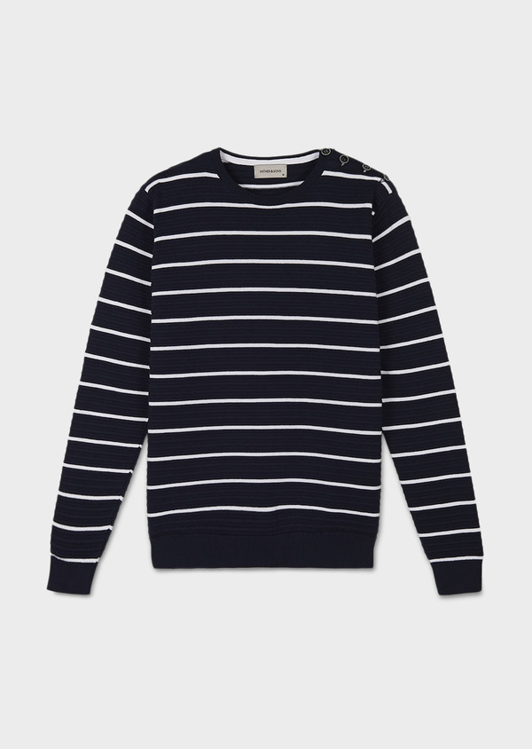 Pull en coton col rond marinière bleu marine - Father and Sons 7008