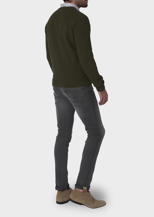 Pull en coton col rond vert kaki - Father and Sons 7029