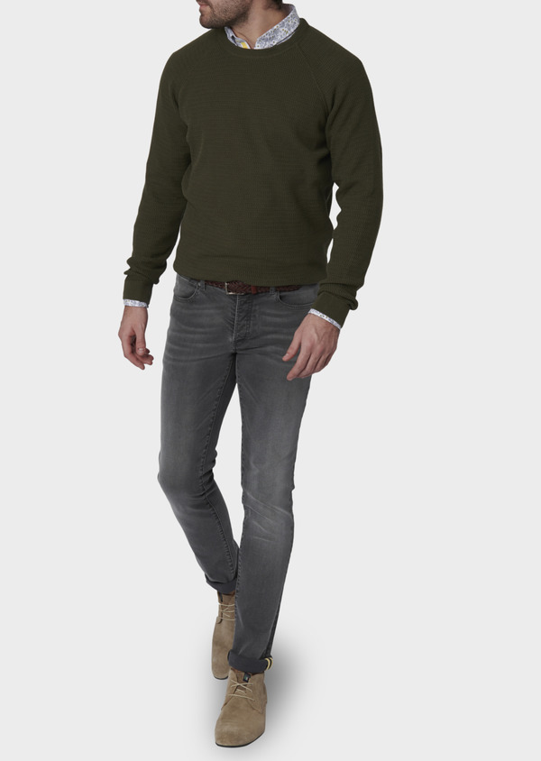 Pull en coton col rond vert kaki - Father and Sons 7028