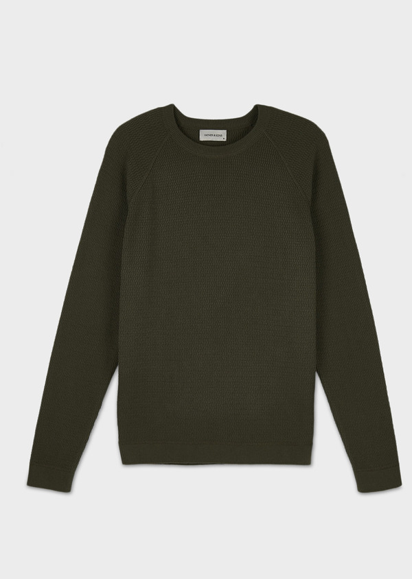 Pull en coton col rond vert kaki - Father and Sons 7026