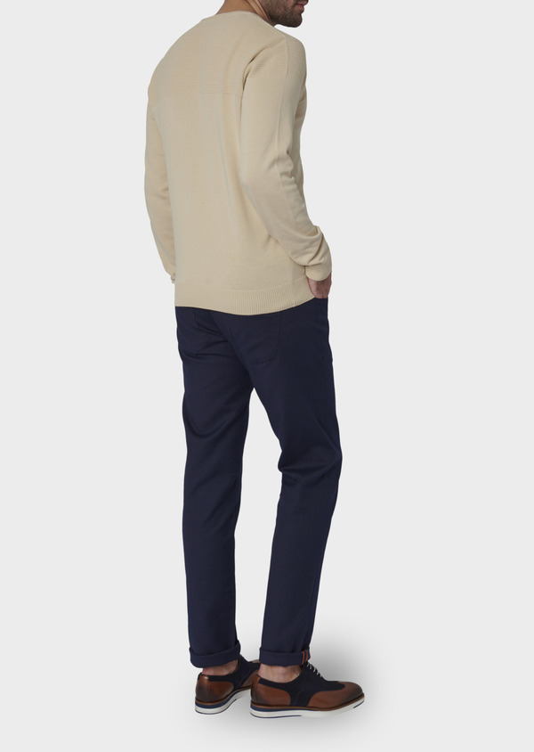 Pull en coton col rond beige - Father and Sons 7047