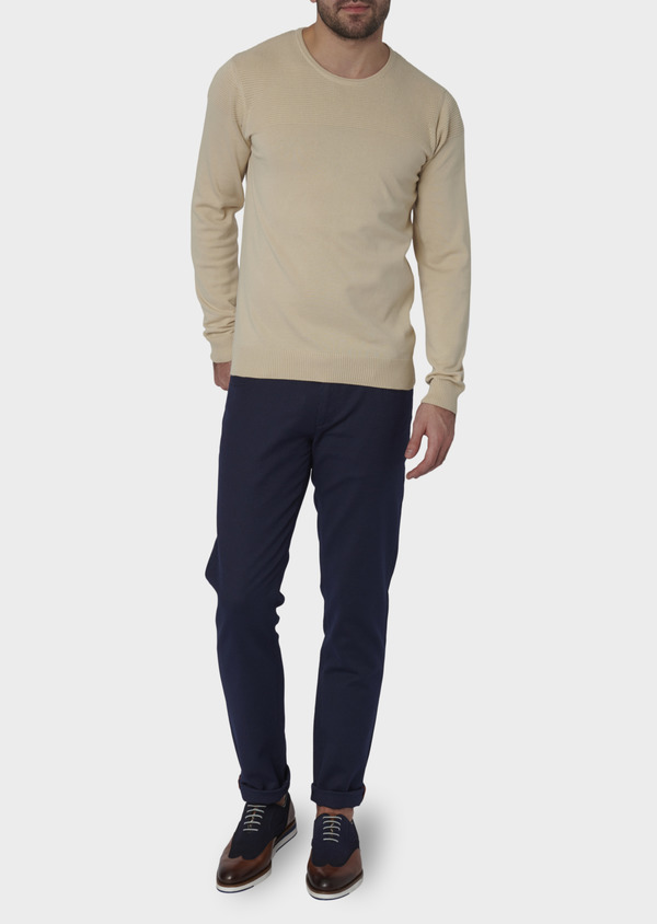Pull en coton col rond beige - Father and Sons 7046