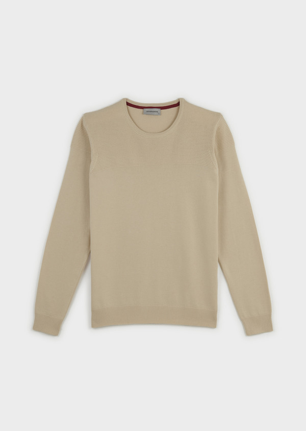 Pull en coton col rond beige - Father and Sons 7044