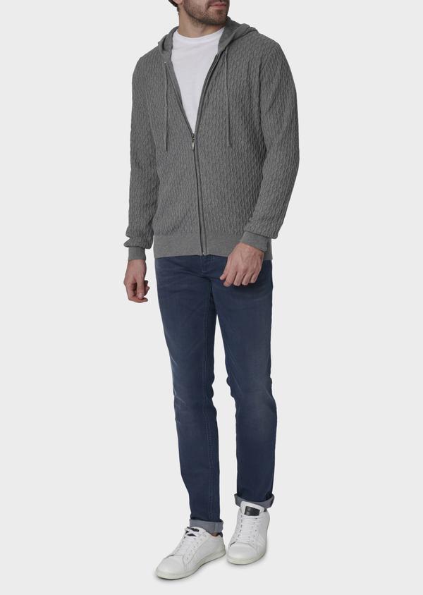 Gilet en coton texturé gris - Father and Sons 7040