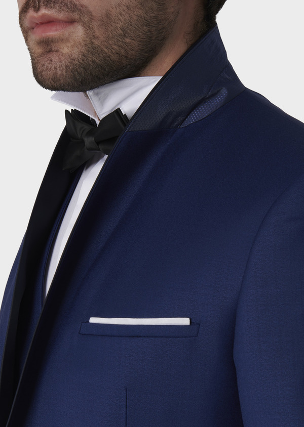 Smoking Slim en laine unie bleue - Father and Sons 7072