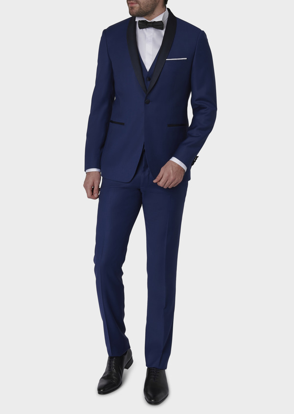 Smoking Slim en laine unie bleue - Father and Sons 7070