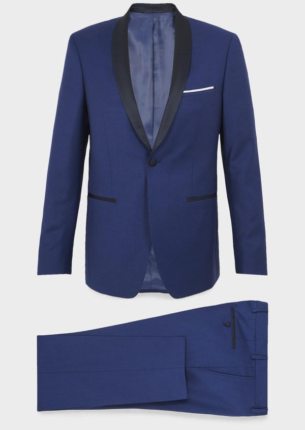Smoking Slim en laine unie bleue - Father and Sons 7068