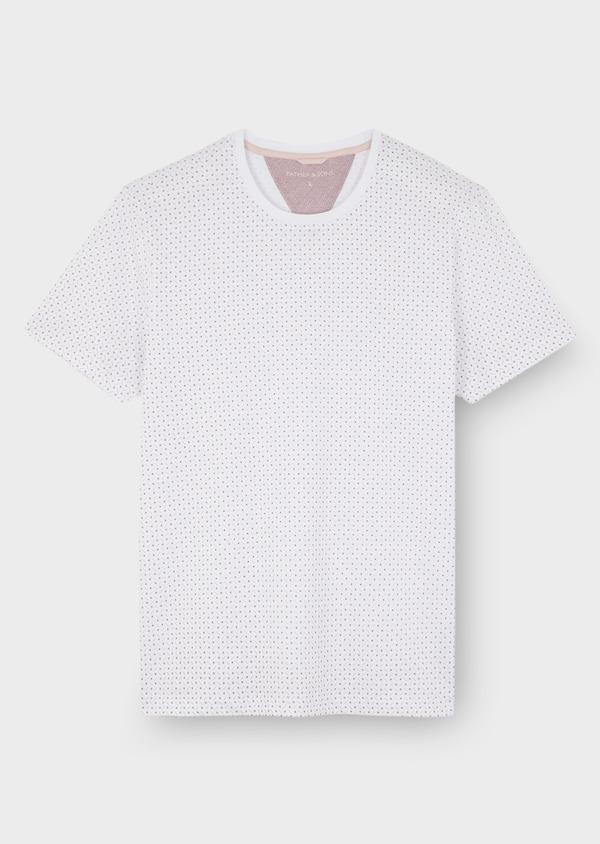 Tee-shirt manches courtes en coton blanc à motifs géométriques - Father and Sons 7122