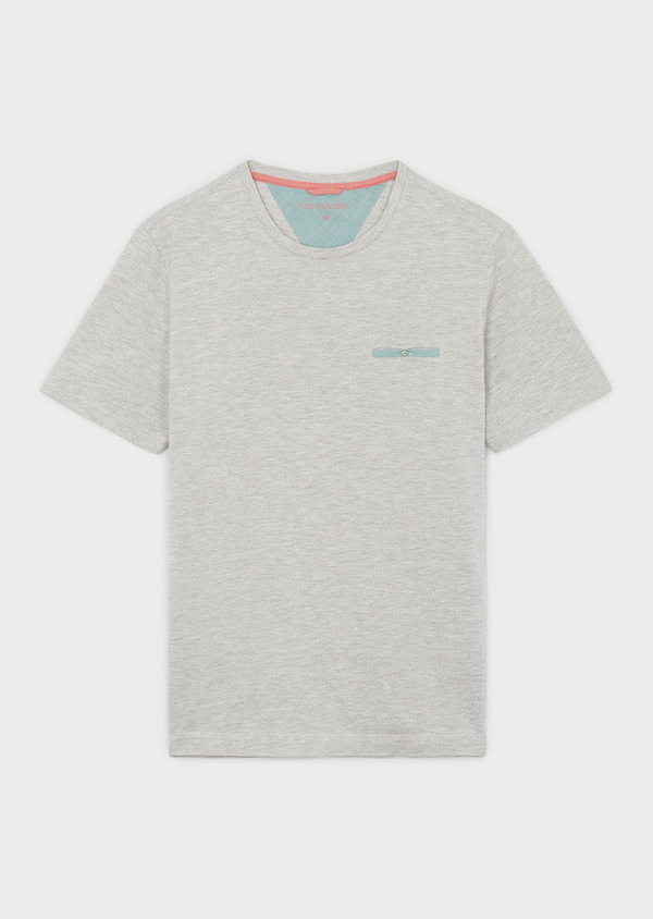 Tee-shirt manches courtes en coton gris clair à motifs - Father and Sons 7102