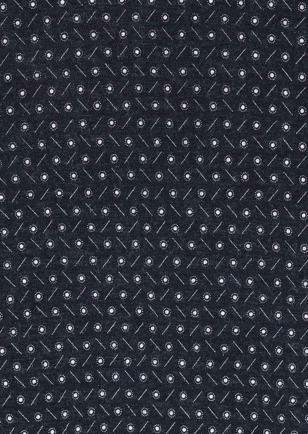 Tee-shirt manches courtes en coton bleu marine à motifs géométriques - Father and Sons 7119