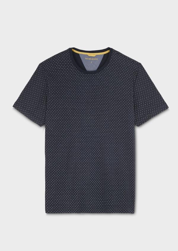 Tee-shirt manches courtes en coton bleu marine à motifs géométriques - Father and Sons 7118