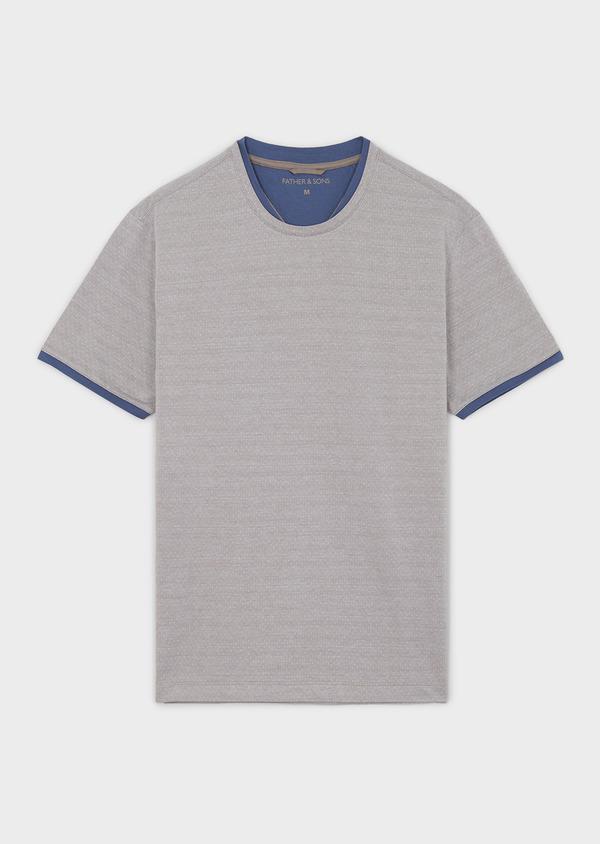 Tee-shirt manches courtes en coton gris à pois - Father and Sons 7106