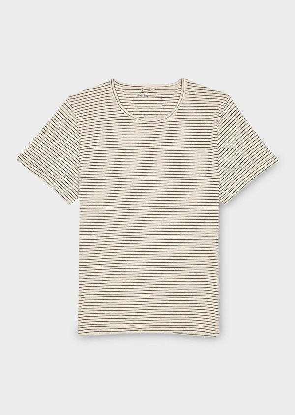 Tee-shirt manches courtes en coton blanc à rayures bleues - Father and Sons 7114
