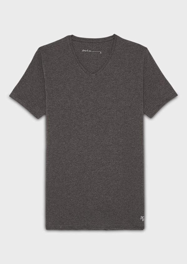 Tee-shirt manches courtes en coton stretch col V gris chiné - Father and Sons 9210