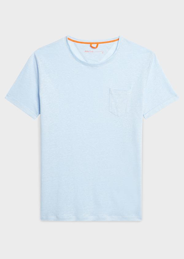 Tee-shirt manches courtes en lin uni bleu ciel - Father and Sons 7142