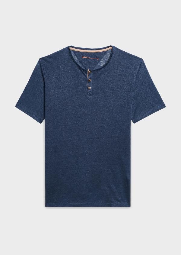 Tee-shirt manches courtes en lin uni bleu indigo - Father and Sons 7150