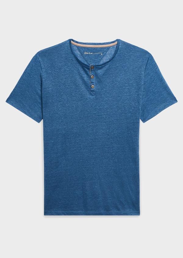 Tee-shirt manches courtes en lin uni bleu jean - Father and Sons 7154