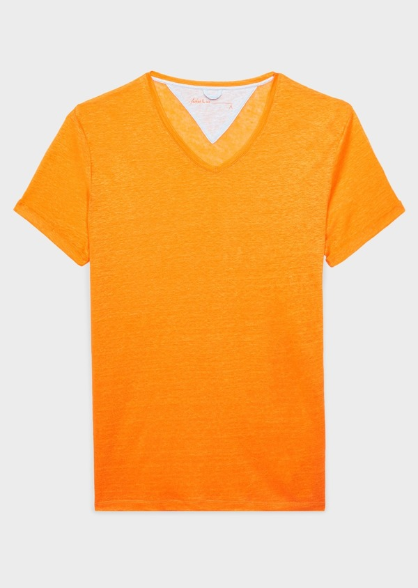 Tee-shirt manches courtes en lin uni orange - Father and Sons 8215