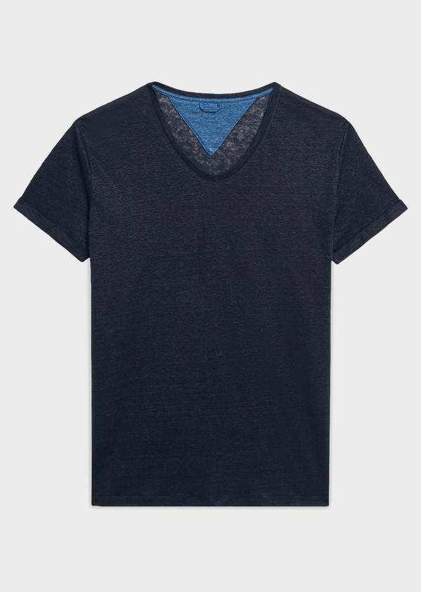 Tee-shirt manches courtes en lin uni bleu marine - Father and Sons 7126
