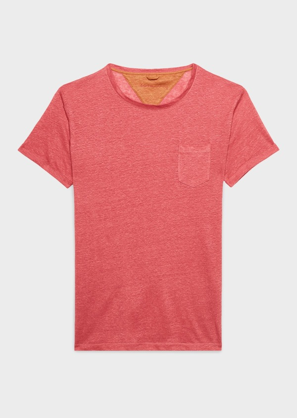 Tee-shirt manches courtes en lin uni rose clair - Father and Sons 7146