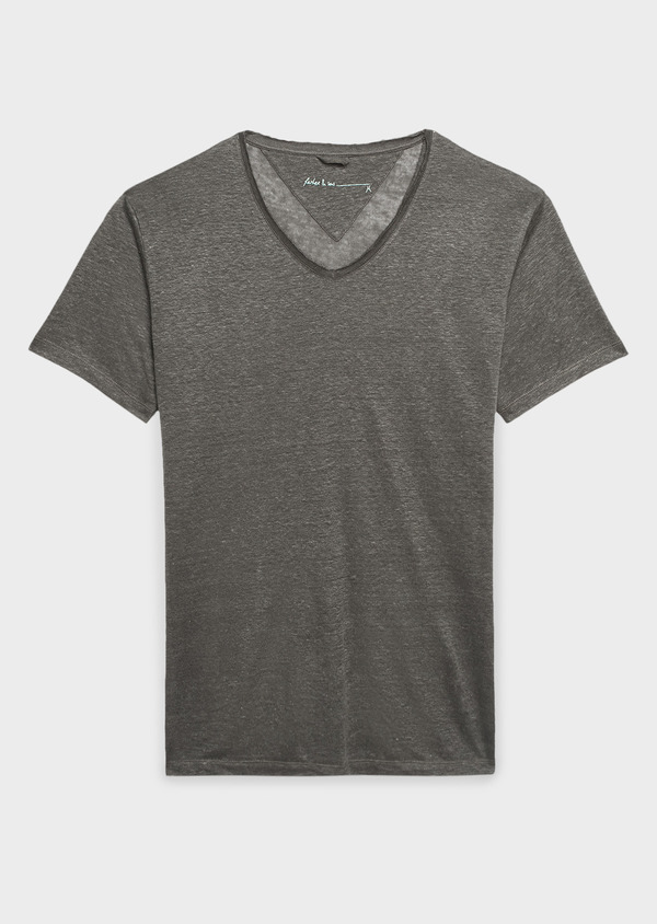 Tee-shirt manches courtes en lin uni vert kaki - Father and Sons 8219