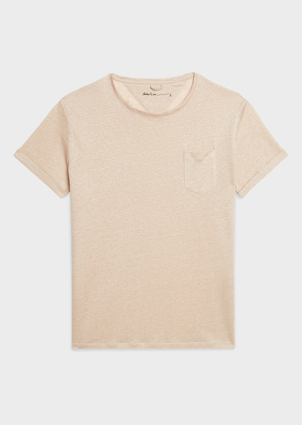Tee-shirt manches courtes en lin uni beige - Father and Sons 7138