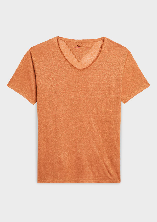 Tee-shirt manches courtes en lin uni marron - Father and Sons 7130