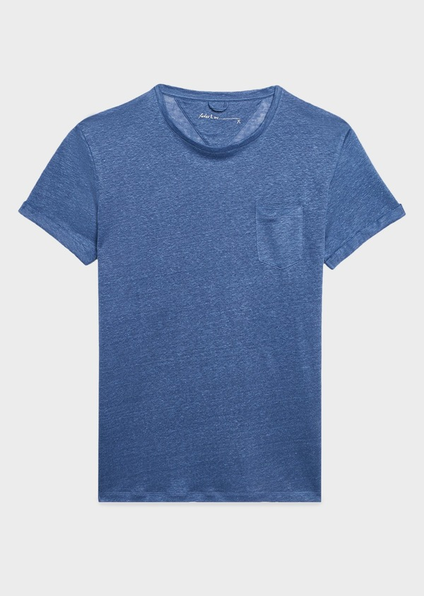 Tee-shirt manches courtes en lin uni bleu - Father and Sons 7134