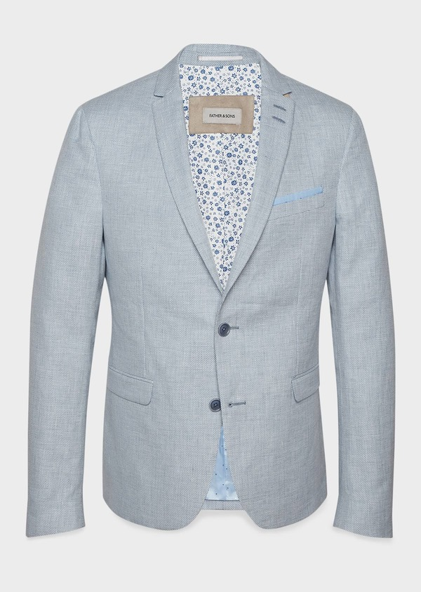Veste coordonnable Slim en lin bleu ciel - Father and Sons 7178