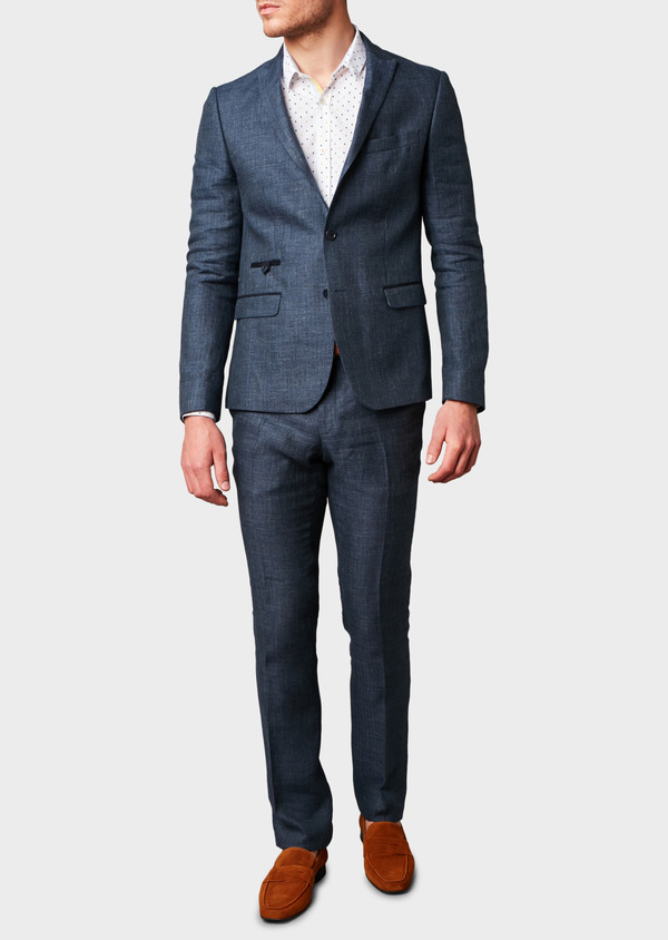 Veste coordonnable Slim en lin bleu marine - Father and Sons 7190