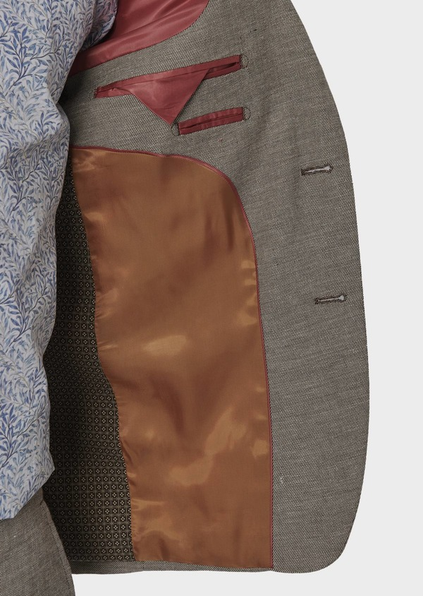 Veste coordonnable Regular en lin marron - Father and Sons 7174