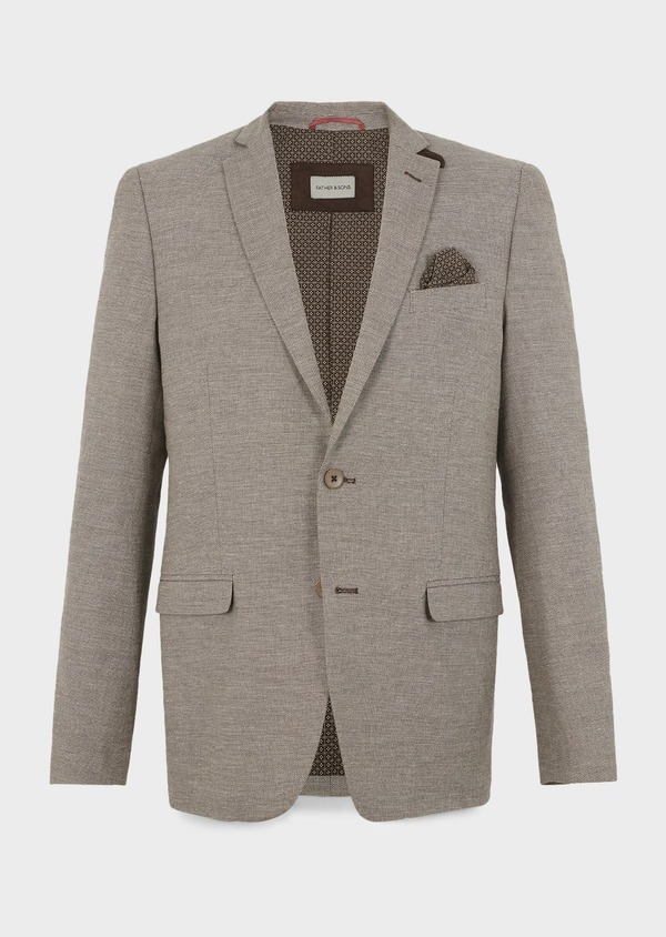 Veste coordonnable Regular en lin marron - Father and Sons 7168