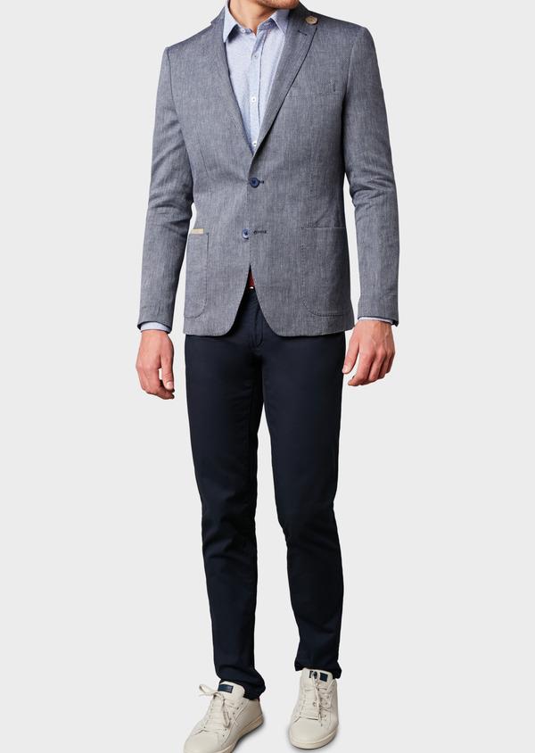 Veste casual Regular en coton façonné bleu gris - Father and Sons 7220
