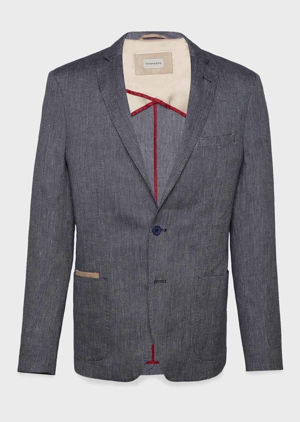 Veste casual Regular en coton façonné bleu gris - Father and Sons 7218