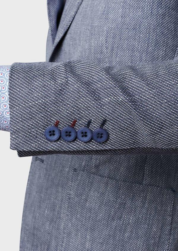 Veste casual Regular en coton façonné bleu gris - Father and Sons 7223